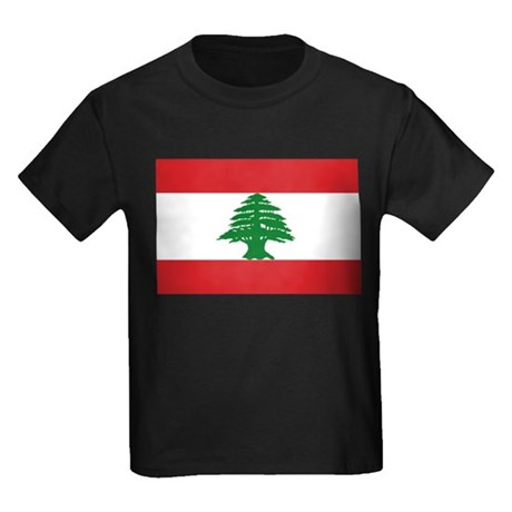 Lebanon Flag Kids Dark T-Shirt