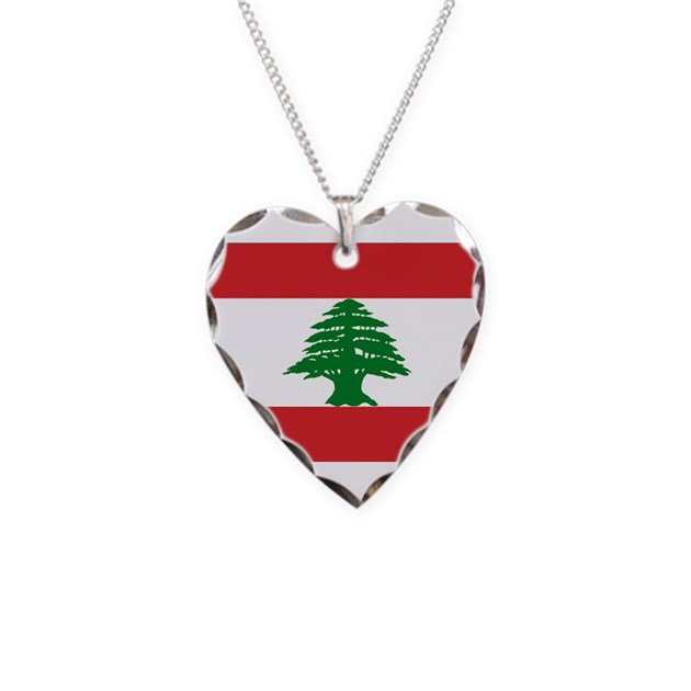 lebanon flag necklace heart charm by flagsfromtheworld