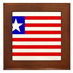 Liberia Flag Framed Tile