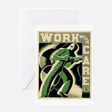 Work With Care WPA Poster Greeting Card