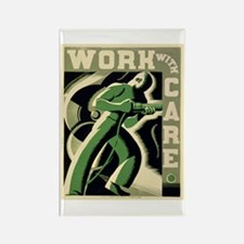 Work With Care WPA Poster Rectangle Magnet