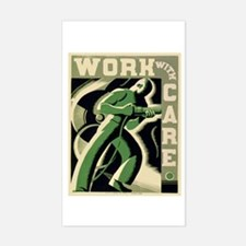 Work With Care WPA Poster Sticker (Rectangle)