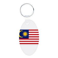 Malaysia Flag Aluminum Oval Keychain