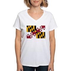 Maryland Flag Women's V-Neck T-Shirt