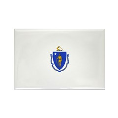 Massachusetts Flag Rectangle Magnet (100 pack)
