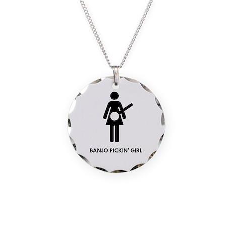 Banjo Pickin' Girl Necklace Circle Charm