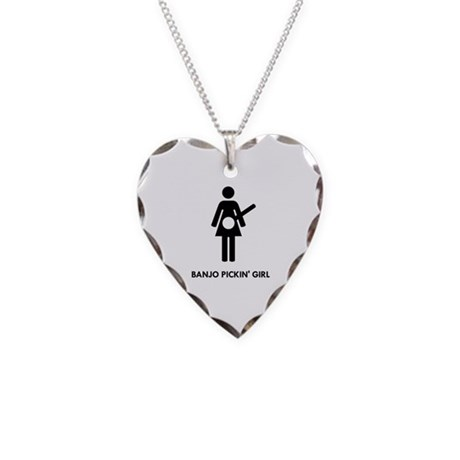 Banjo Pickin' Girl Necklace Heart Charm