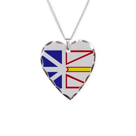 Newfoundland Flag Necklace Heart Charm