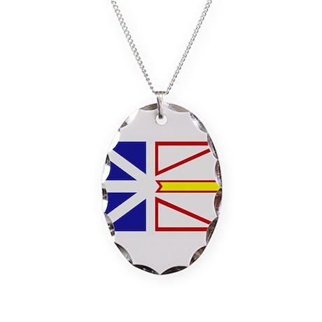 Newfoundland Flag Necklace Oval Charm