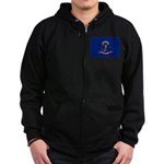 North Dakota Flag Zip Hoodie (dark)