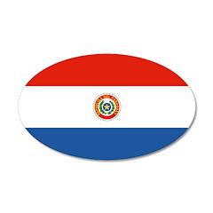 Paraguay Flag 38.5 x 24.5 Oval Wall Peel