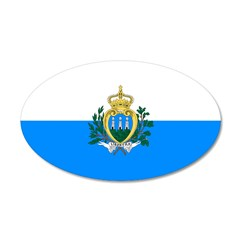 San Marino Flag 22x14 Oval Wall Peel