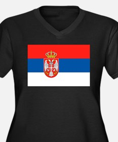 Serbia Flag Women's Plus Size V-Neck Dark T-Shirt