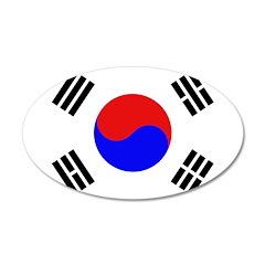 South Korea Flag 38.5 x 24.5 Oval Wall Peel