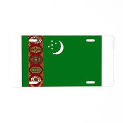 Turkmenistan Flag Aluminum License Plate