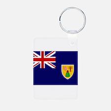 Turks and Caicos Flag Aluminum Photo Keychain