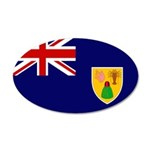 Turks and Caicos Flag 38.5 x 24.5 Oval Wall Peel