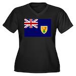 Turks and Caicos Flag Women's Plus Size V-Neck Dar