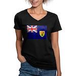 Turks and Caicos Flag Women's V-Neck Dark T-Shirt