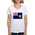 Turks and Caicos Flag Women's V-Neck T-Shirt