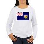 Turks and Caicos Flag Women's Long Sleeve T-Shirt