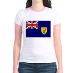 Turks and Caicos Flag Jr. Ringer T-Shirt