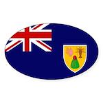 Turks and Caicos Flag Sticker (Oval)