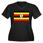 Uganda Flag Women's Plus Size V-Neck Dark T-Shirt