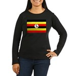 Uganda Flag Women's Long Sleeve Dark T-Shirt
