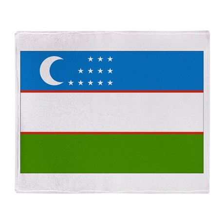 Uzbekistan Flag Throw Blanket