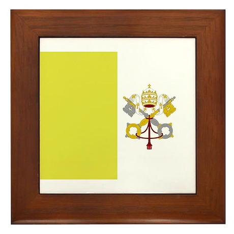 Vatican City Flag Framed Tile