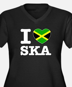 I love Ska Women's Plus Size V-Neck Dark T-Shirt