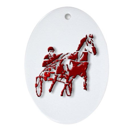 Red Pacer Oval Ornament