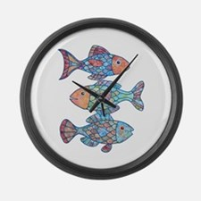 Fishes 3 Large Wall Clock