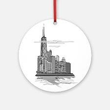 Chicago Skyline Art Ornament (Round)
