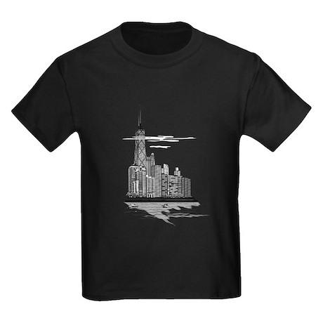 Chicago Skyline Art Kids Dark T-Shirt