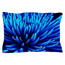 Blue Chrysanthemum flower Pillow Case