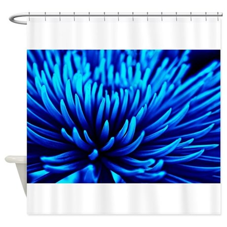 Blue Chrysanthemum Flower Shower Curtain By Inspiraimagephotography