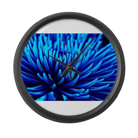 Blue Chrysanthemum flower Large Wall Clock