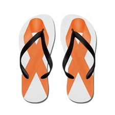 Orange Awareness Ribbon Flip Flops