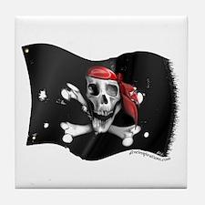 Caribbean Pirate Flag Tile Coaster