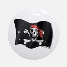 Caribbean Pirate Flag Ornament (Round)