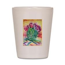 Bright, cactus art Shot Glass