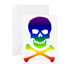 Rainbow Skull and Bones Greeting Cards (Package of