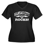 Kansas City Rocks Women's Plus Size V-Neck Dark T-