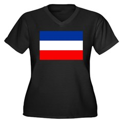 Yugoslavia Flag Women's Plus Size V-Neck Dark T-Sh