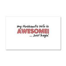 Husbands Wife Awesome Car Magnet 20 x 12
