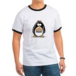 Gay Pride Girl Penguin Ringer T