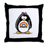 Gay Pride Girl Penguin Throw Pillow