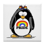 Gay Pride Girl Penguin Tile Coaster